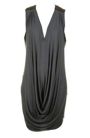 Religion Tube Bead Shoulder Washed Black Dress