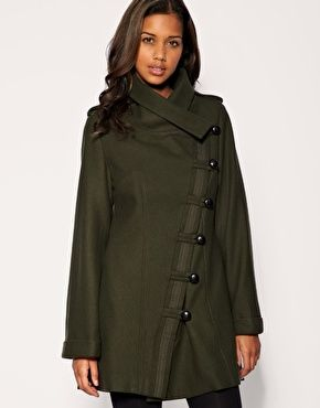 Ringspun Asymmetric Wool Mix Military Coat