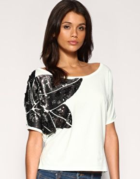 Ringspun Sequin Leaf Shoulder Top