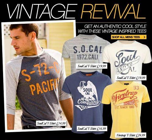 Soul Cal Mens Vintage T-Shirts