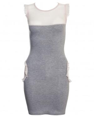 Warm Pixie Mesh Hip Panel Jersey Dress