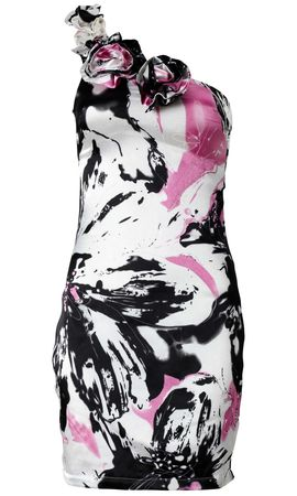 AX Paris Abstract Water Colour Print Asymmetric Dress