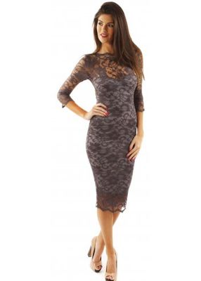 Long Sleeve Bodycon Dress on Lacey Long Sleeve Grey Bodycon Lace Midi Dress   Wedding Dresses