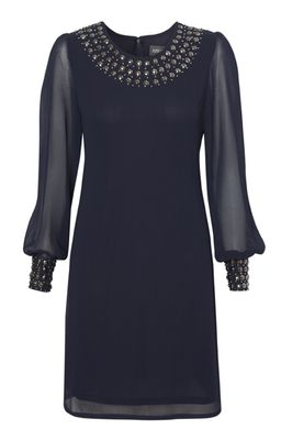 Whistles Tessa Shift Dress, Navy | Party Dresses