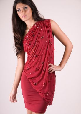Dress Shopping Online on Zara Dress   Red One Shoulder Mesh And Jersey Asymmetric Draped Dress