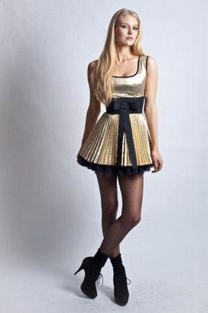 Jones & Jones Metallic Foil Pleated Phoebe Dress