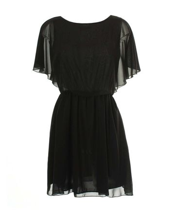 LOVE Black Cape Chiffon Dress