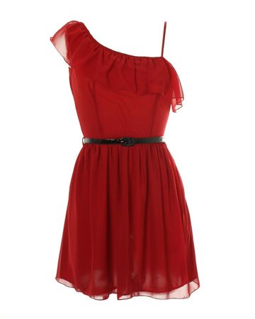 LOVE Cherry One Shoulder Ruffle Dress
