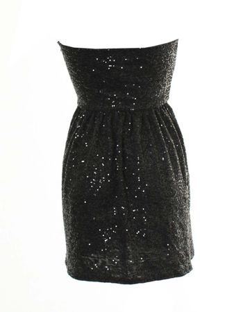 LOVE Grey Strapless Dress With Sequins