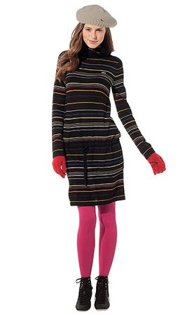 Lacoste Multi Coloured Thin Striped Roll Neck Sweater Dress