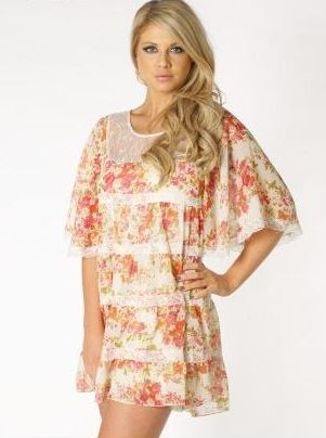 Lipsy Floral Tiered Smock Dress