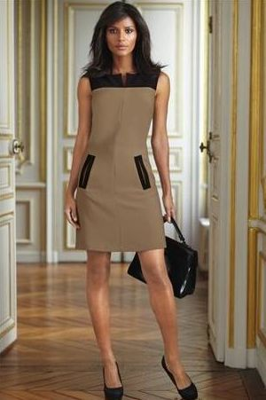 Next Camel And Black Colour Block Dress