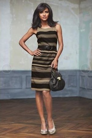Next Camel And Black Stripe Dress