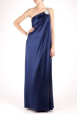 Notte By Marchesa One Shoulder Applique Draped Gown