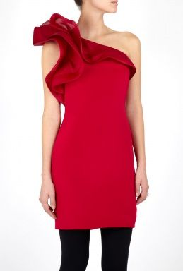 Notte By Marchesa Silk Crepe One Shoulder Organza Drape Dress