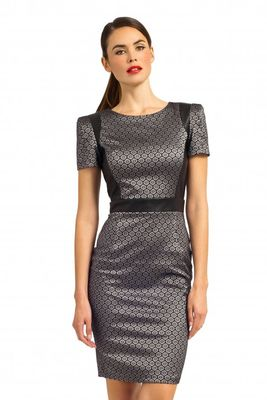 Paper Dolls Metallic Grey & Black Tile Jacquard Long Angular Sleeve Panel Bodycon Dress