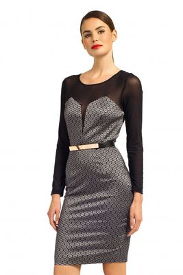Paper Dolls Metallic Grey & Black Tile Jacquard Long Sleeve Mesh Sweetheart Bodycon Dress