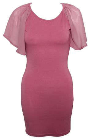 Rare Chiffon Cape Sleeve Jersey Dress