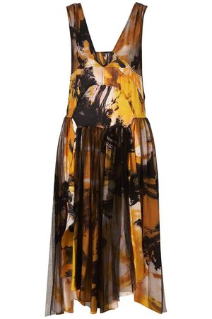 Topshop Unique Yellow Print Mesh Skirt Maxi Dress