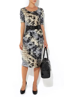 Wallis Neutral Snake Print Midi Dress