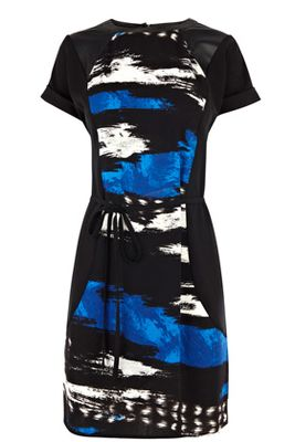Warehouse Texture Print Piped Dress