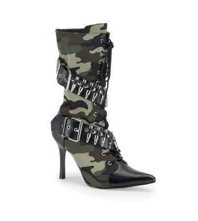 Demonia Black PU Bullet Militant Boots