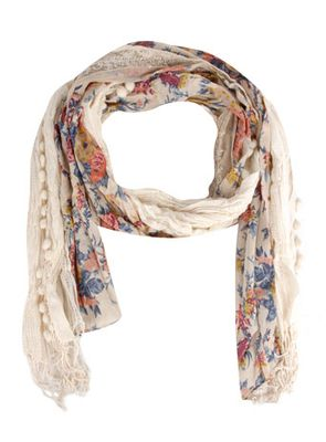 Dorothy Perkins Cream Floral Lace Scarf