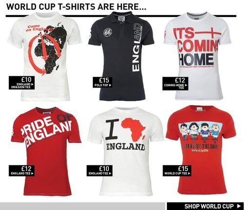 http://www.ukEngland Word Cup T-Shirts At New Look
