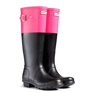 Hunter Original Colour Block Crimson Pink Wellies