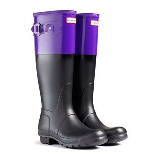 Hunter Original Colour Block Purple Wellies