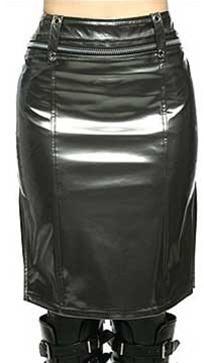 Lip Service Gun Metal Colour Vinyl Mid Length Skirt