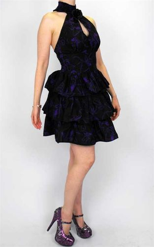 Necessary Evil Bellona Black and Purple Octopus Patterned Dress