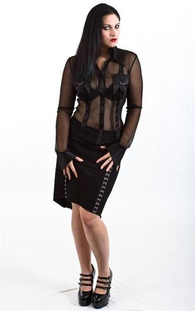 Necessary Evil Ceres Black Satin And Net Shirt