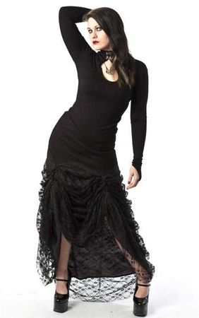 Necessary Evil Serida Twill Lace Long Skirt
