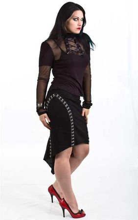 Necessary Evil Shina Black Net Lace Up Top