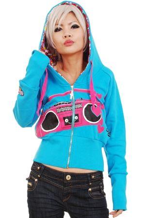 New Breed Girl Player Hoodie . Caneel bay blue Zip fastening hoodie