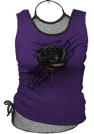 Spiral Black Rose Dew Mesh Vest