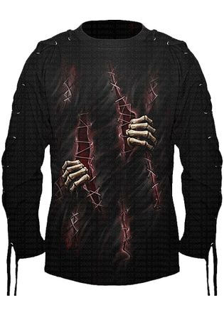 Spiral Scarred Lace Up Longsleeve T-Shirt