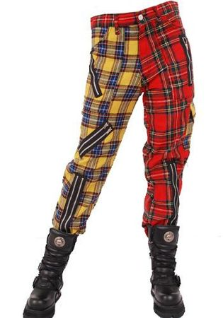Tiger of London Zip Bondage Tartan Split Leg Pants
