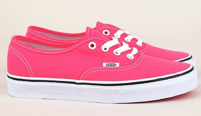 Vans Womens Authentic Trainers . Available in Pink Neon or Black Neon