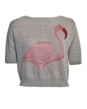 Warm Pixie Crop Flamingo Jumper