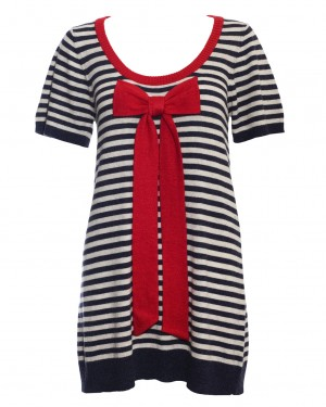 Warm Pixie Stripe Big Bow Tunic