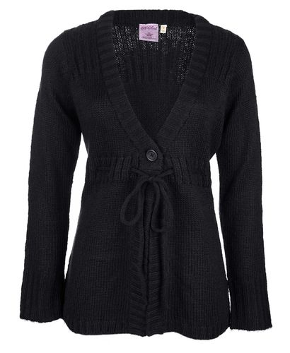Blue Inc Woman Tie Waist Black Cardigan