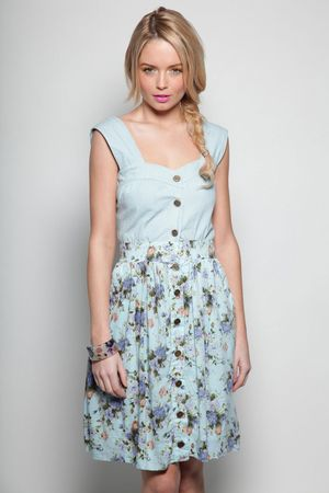 Boohoo Claudia Twist Back Button Front Flower Print Denim Dress