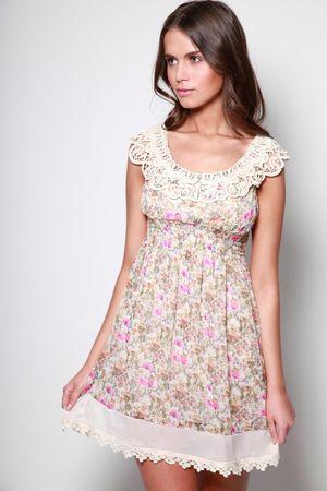 Boohoo Sahar Crochet Neckline Ditsy Print Sheared Waist Dress
