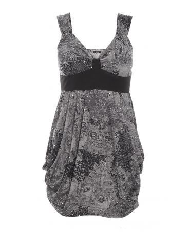 Quiz Black and Silver Lace Print Sequin Dress