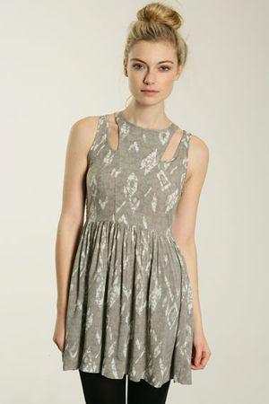 Something Else Printed Cut Out Yoke Dress