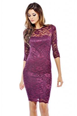 AX Paris Long Sleeve Lace Midi Dress