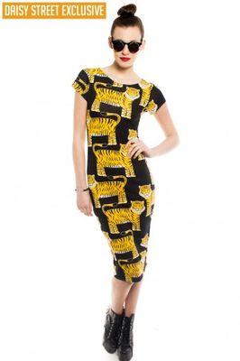 Daisy Street Nala Cap Sleeve Tiger Midi Dress