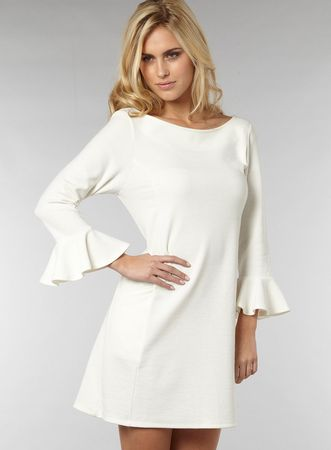 Doll & Frog Cream Ponte Frill Sleeve Dress